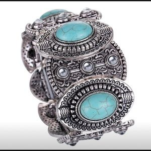 Wide Ethnic Silver & Turquoise Stretch Bracelet